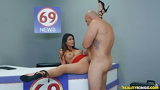 Sweet brunette spreads wide for this guy's endless cock