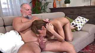 Old man feels young pussy in exceptional home XXX