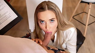 HUNT4K. Teen in strict suit and sexy lingerie shows herself