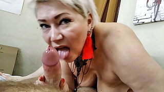 Blowjob masterclass from milf-mature beauty Aimee Paradise.