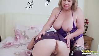 OldNannY Two Mature Lesbians Seductive Striptease
