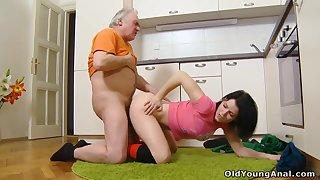 Old Dude Fucks Teen Pussy & Ass - Anal Teen