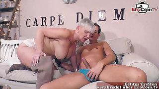 German mature big boobs granny fucks