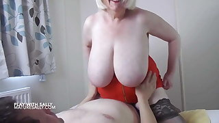 My lover gets my big tits out in a hotel room