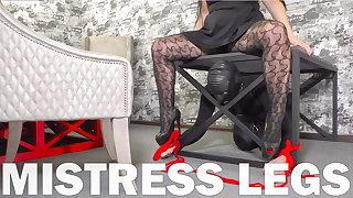 Worship my pantyhose feet in high heels, slave!