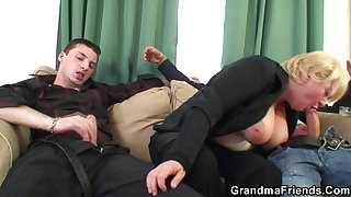 Two dudes pick up busty blonde grandma