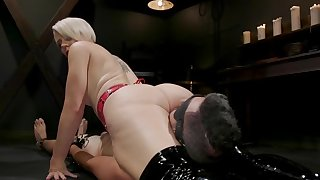 Blonde mistress will only let him lick her pussy