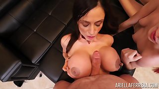 Horny Ariella Ferrera and Brooke Johnson suck a dick until he cums