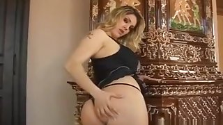 Sexy Siren In Stockings And Gloves Mashes The brush Sexy Knockers