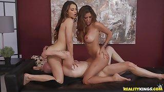 Hot threesome sex with derisive big-titted Stepmom