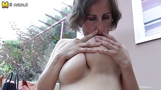 Big breasted mature old woman playing alone
