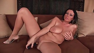 Chubby boobed soccer mom is toying her mature pussy