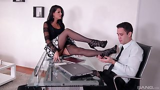 Office doggy style sex and cumshot greater than feet of Coco de Mal
