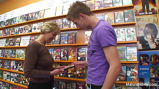 Sexy blonde mature fucks him in be imparted to murder video store