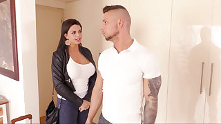 Big-busted spoil seduces landlord and fucks him