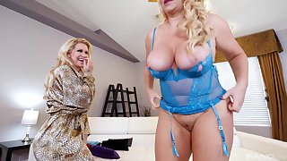 Busty mature blonde lesbian couple Karen Fisher with an increment of Ryan Conner