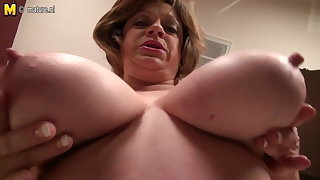 Mature American MOM with saggy big tits
