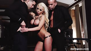 Inked matured blonde whore Barbie Sins fucked and throated by a handful of men