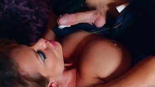 Kelly Madison wears gloves measurement choking on a stallion's cock