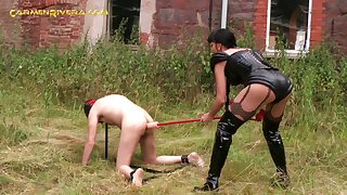 Domina in latex and high knee boots Carmen Rivera dildo fucks anal hole of submissive dude