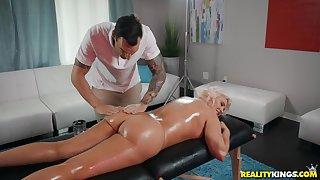Hot blonde Karissa Shannon enjoys sex with her horny masseur