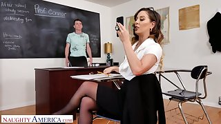 That young man has been a pain in the ass so hot professor decides to fuck him