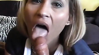 Pretty fine milf blowing and swallowing hes cum