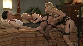 Milfs throat the same dick then rides it in full anal modes