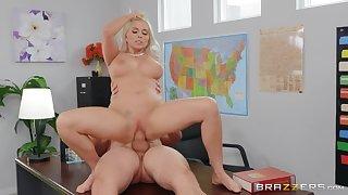 Naked wife sucks her boss for a raise