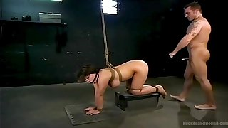 Dominant man ass fucks busty woman until she falls exhausted
