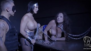 Shay Fox with busty Summer Day and Christina Carters chained in BDSM action