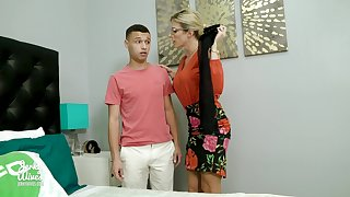 Perverted son sniffs underwear of his stepmom Cory Chase