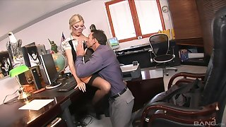 Jizzed on the glasses after fucking the boss in insane XXX