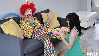Clown pulls out his big dick for the birthday girl