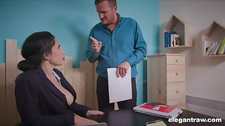 That busty secretary is a perfect fuck slut and she gives good head