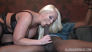 Incredibly good looking giant breasted blonde MILF Alura Jenson jumps on cock